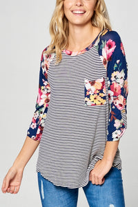 Floral Stripe Baseball Top