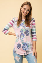 Load image into Gallery viewer, Floral Print Top With 3/4 Sleeve Multi Stripe Sleeve Contrast Detail