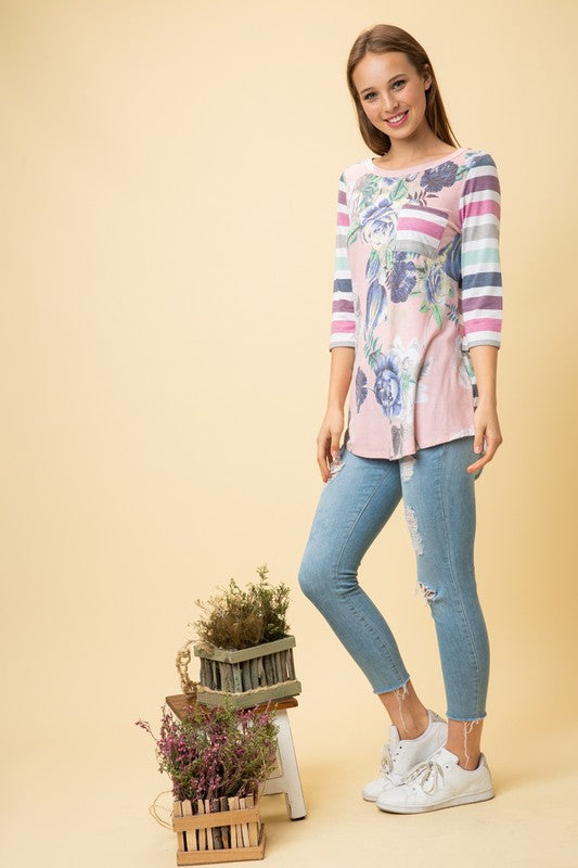 Floral Print Top With 3/4 Sleeve Multi Stripe Sleeve Contrast Detail