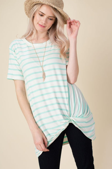 Mint Stripe Twisted Bottom