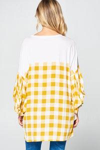 Woven Plaid and Solid Top