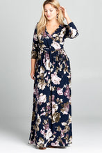 Load image into Gallery viewer, Plus Floral Printed Faux Wrap Maxi Dress