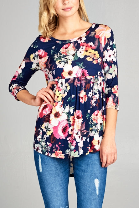 Plus Size Baby Doll Floral Top