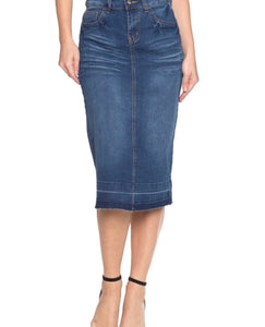 """Lucy"" Light Washed Denim Skirt"