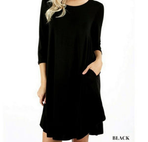 3/4 Sleeved Round Neck Tunic with Pockets - BLACK