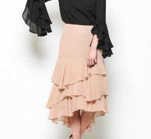 Semi Ruffled Layered Skirt