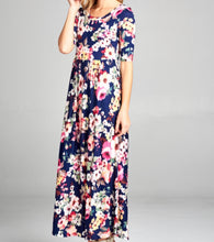 Load image into Gallery viewer, Floral Half Sleeve Maxi Dress