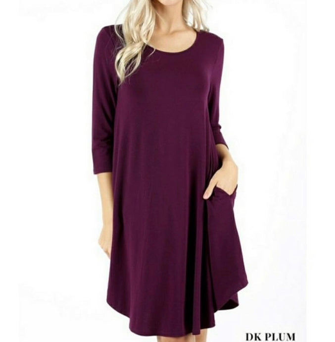 3/4 Sleeved Round Neck Tunic with Pockets - PLUM