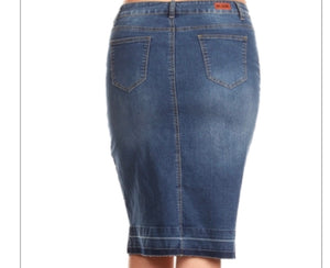 "Plus Size ""Lucy"" Light Washed Denim Skirt"