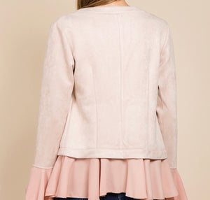 Blush Ruffle Bell Sleeve Jacket