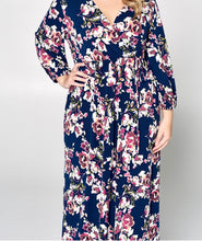 Load image into Gallery viewer, Navy Floral Wrap Dress
