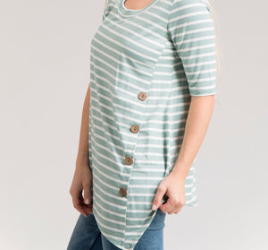 Wood Button Stipe Top