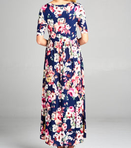 Floral Half Sleeve Maxi Dress