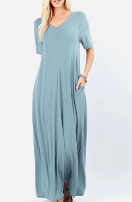 Blue Grey Maxi Dress