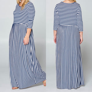 Plus Size Navy & White Stripe Dress