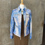 Hand-Painted Leather Jacket (Blue)