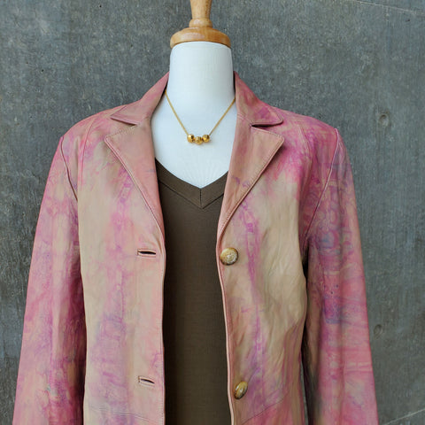 Hand-Painted Leather Jacket (Pink)