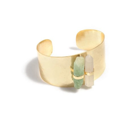 Brass and Crystal Cuff Bracelet