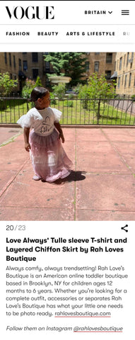 Black Owned baby/toddler in Vogue Retail shopping