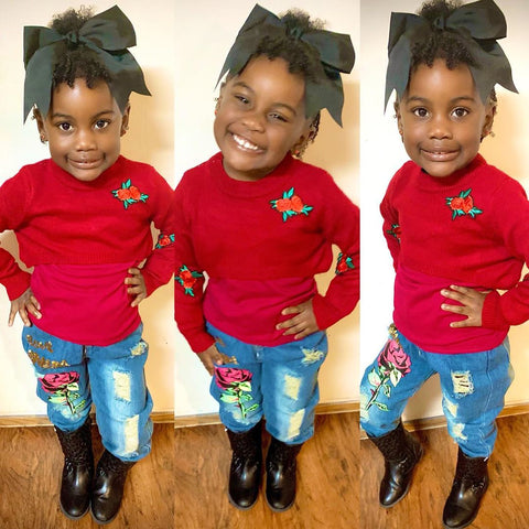 Kaley Toddler Girl In Red Sweater Set Denim Instagram Little Girl Outfits Black Toddler