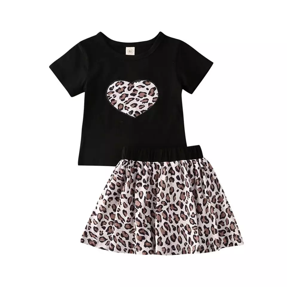 Leopard Heart Skirt Set