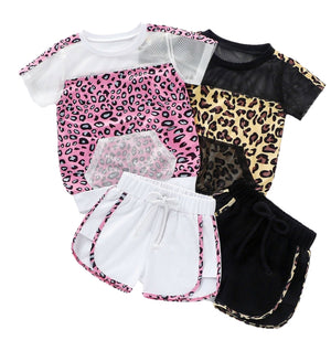 Leopard Mesh Shorts Sets