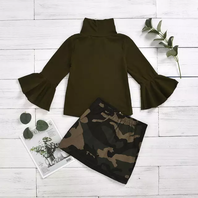 Bell Sleeve Camo Skirt Set