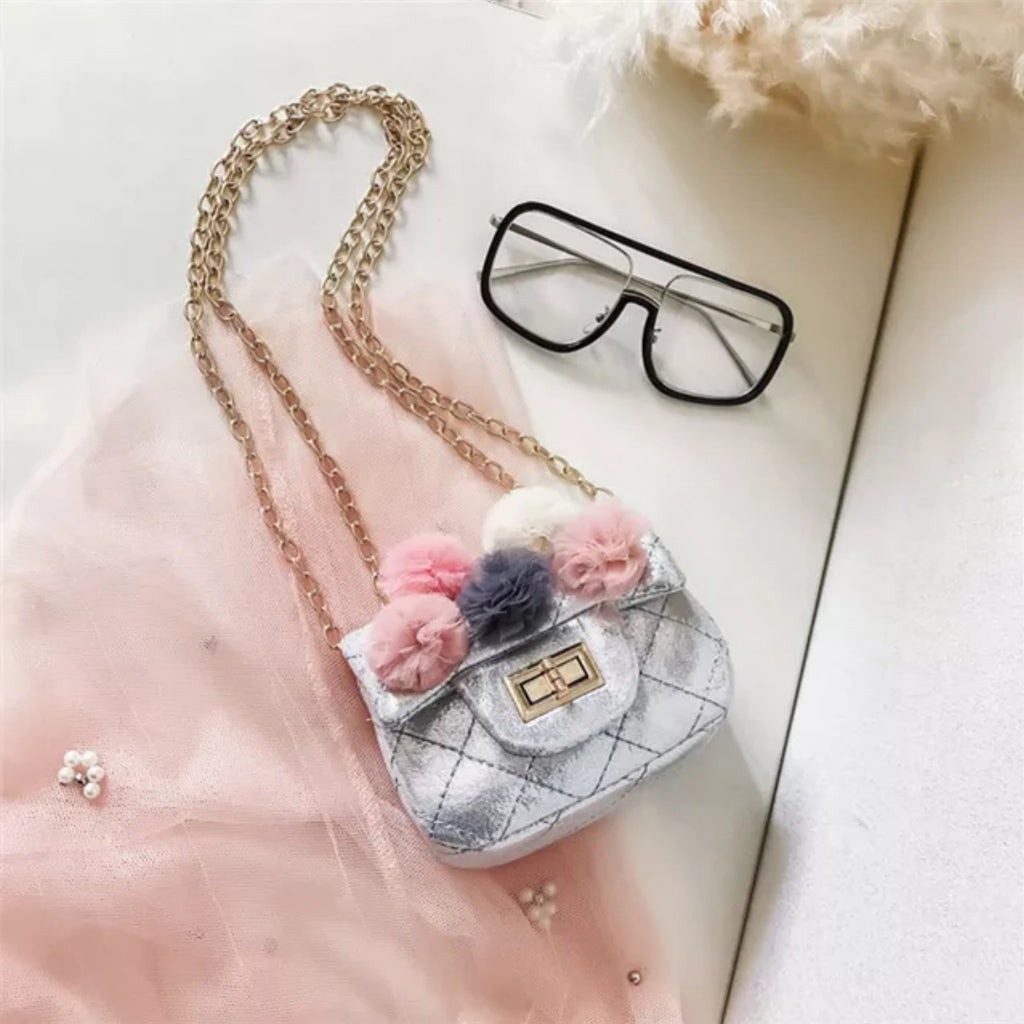 Metallic Tulle Puff Mini Bag | Silver