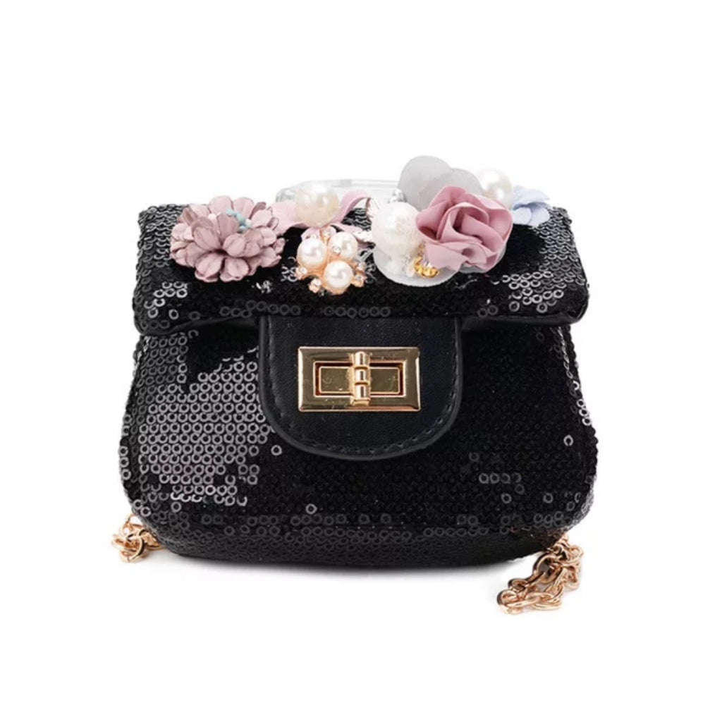 Pearl Flower Sequin Mini Bag | Black