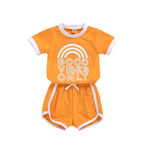 Good vibes kids set retro toddler outfit