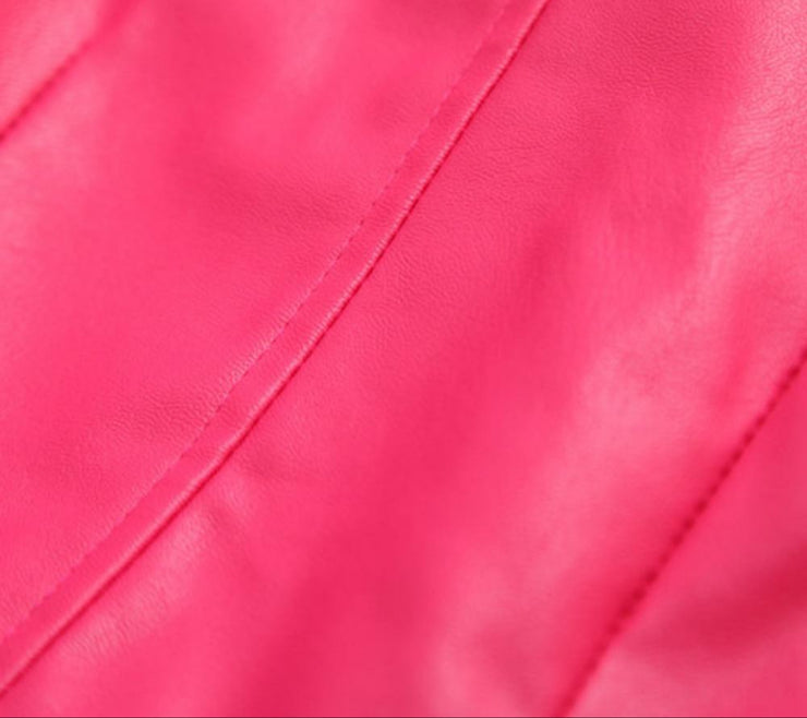 Leather Biker Jacket | HOT PINK
