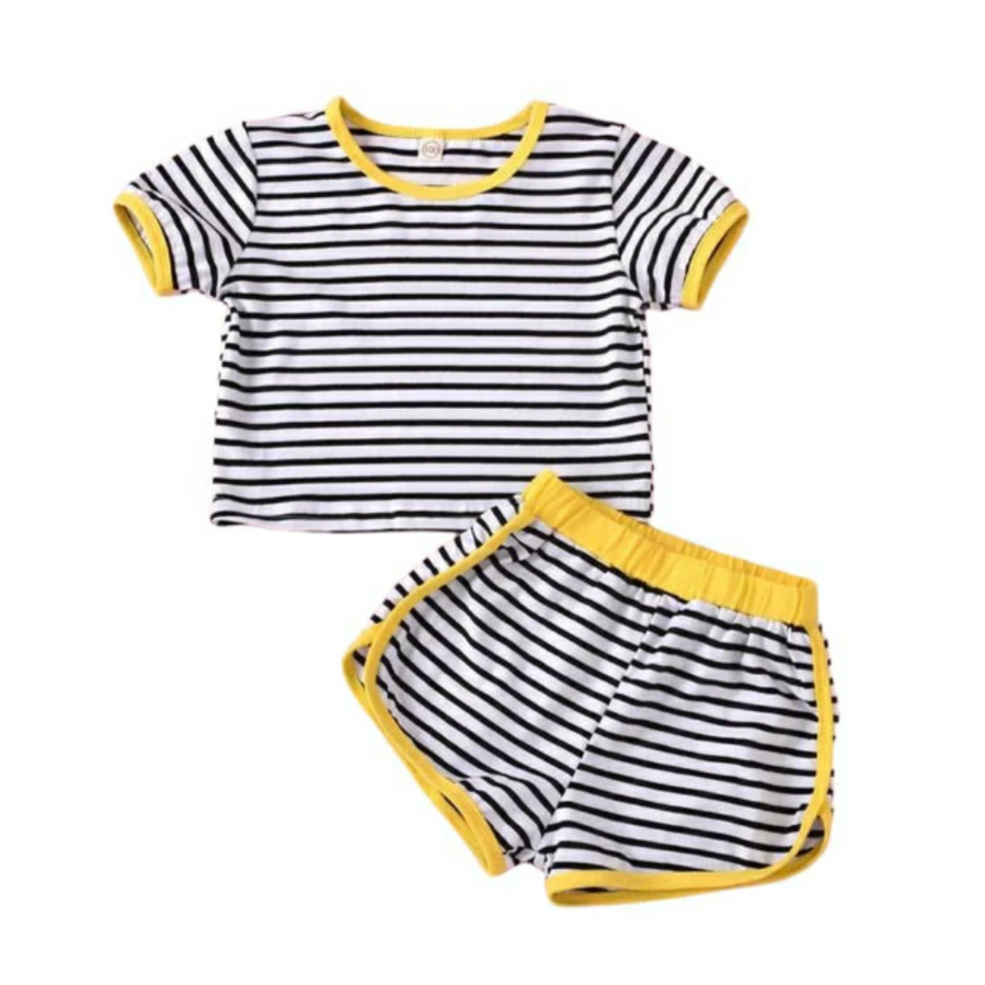 Striped Yellow Trim Shorts Set