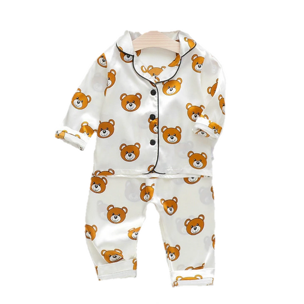 Teddy All Over Pajama Set | WHITE