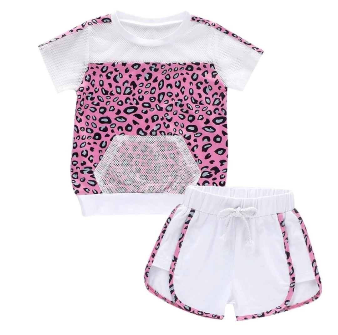 Toddler shorts sets leopard mesh trim Size 2T 3T 4T 5T 6T