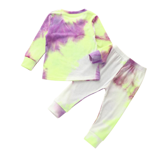 Tie Dye Lounge Set| PURPLE-YELLOW