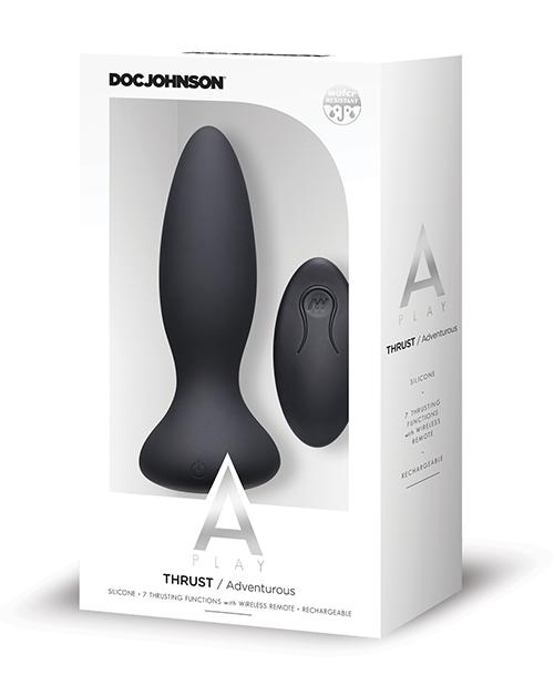 A-Play Thrust Rechargeable Silicone Anal Plug w/Remote - Slightly Legal Toys - A-Play Thrust Rechargeable Silicone Anal Plug w/Remote abs_plastic, Butt Plugs - Rechargeable, silicone, TL - Teal Doc Johnson