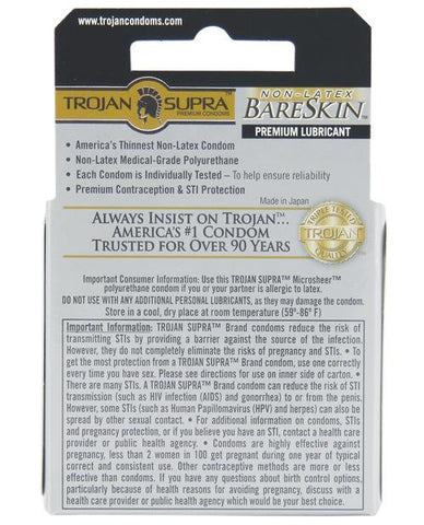 Trojan Supra Ultra-thin Polyurethane Condoms - Box Of 3-Condoms-Paradise Marketing-Slightly Legal Toys