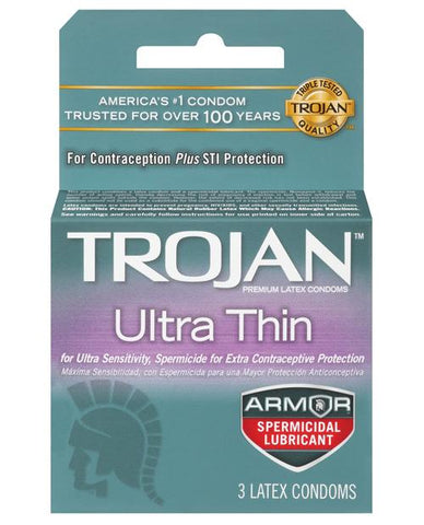 Trojan Ultra Thin Armor Spermicidal - Box Of 3-Condoms-Paradise Marketing-Slightly Legal Toys