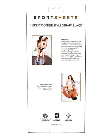 Sportsheets I Like It Doggie Style Strap - Slightly Legal Toys - Sportsheets I Like It Doggie Style Strap abs_plastic, BK - Black, polyester, polyethy, Positionary Aids Sportsheets International