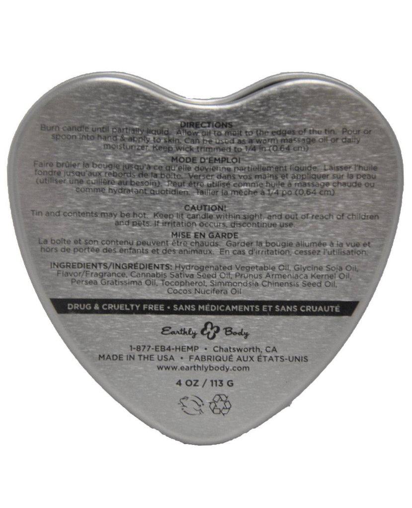 Earthly Body Sun Touched Edible Candle - Heart Tin 4.7 Oz-Setting The Mood-Earthly Body-Slightly Legal Toys