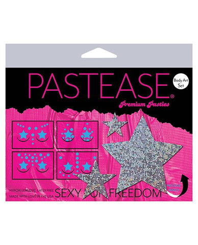Pastease Body Set Glitter Star - Silver O-s - Slightly Legal Toys - Pastease Body Set Glitter Star - Silver O-s adhesive, Bag, Pasties, poly spandex blend, SV - Silver Pastease