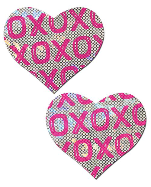 Pastease Glitter Xoxo Heart - Pink-white O-s - Slightly Legal Toys - Pastease Glitter Xoxo Heart - Pink-white O-s adhesive, Bag, Pasties, PK - Pink, poly spandex blend Pastease