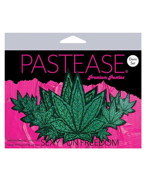 Pastease Demis Glitter Leaf - Green O-s - Slightly Legal Toys - Pastease Demis Glitter Leaf - Green O-s adhesive, Bag, GR - Green, Pasties, poly spandex blend Pastease