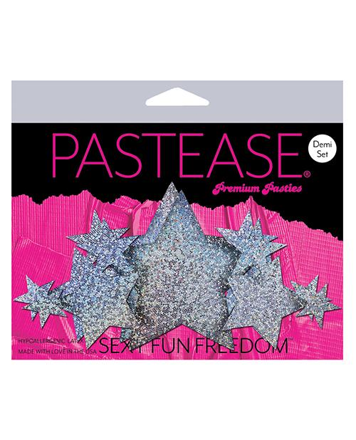 Pastease Demis Glitter Star - Silver O-s - Slightly Legal Toys - Pastease Demis Glitter Star - Silver O-s adhesive, Bag, Pasties, poly spandex blend, SV - Silver Pastease