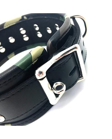 Sensual Sin Camo Piping Leather Five Ring Collar