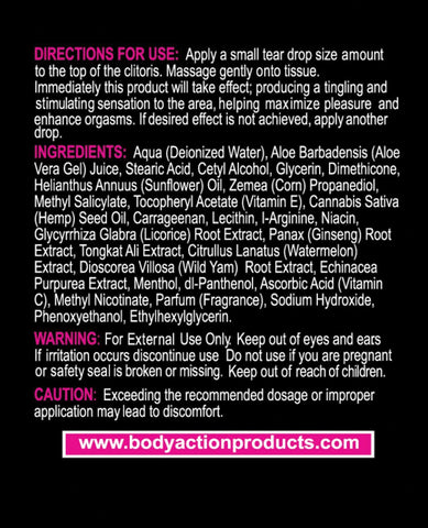 Hempleasure For Women - .5 Oz Bottle-Sexual Enhancers-Body Action Products-Slightly Legal Toys