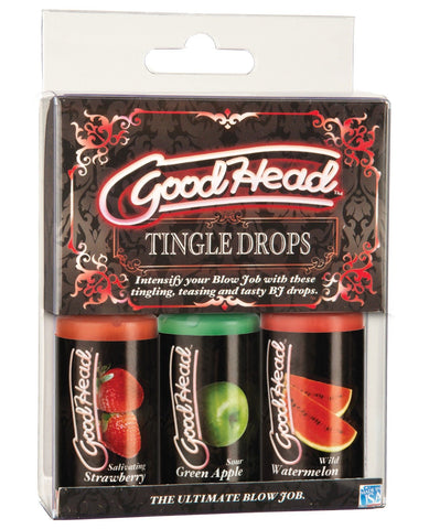 GoodHead Tingle Drops - 1oz Bottle Asst. Flavors Pack Of 3-Sexual Enhancers-Doc Johnson-Strawberry/Green Apple/Watermelon-Slightly Legal Toys
