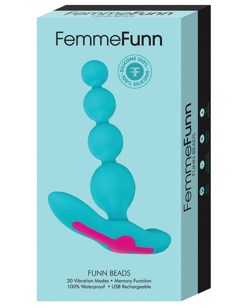 Femme Funn Beads Vibrating Anal Beads - Turquoise-Anal Products-Vvole LLC-Slightly Legal Toys