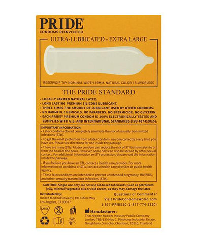 Pride XL Premium Triple Lubricated Condoms - Pack Of 3