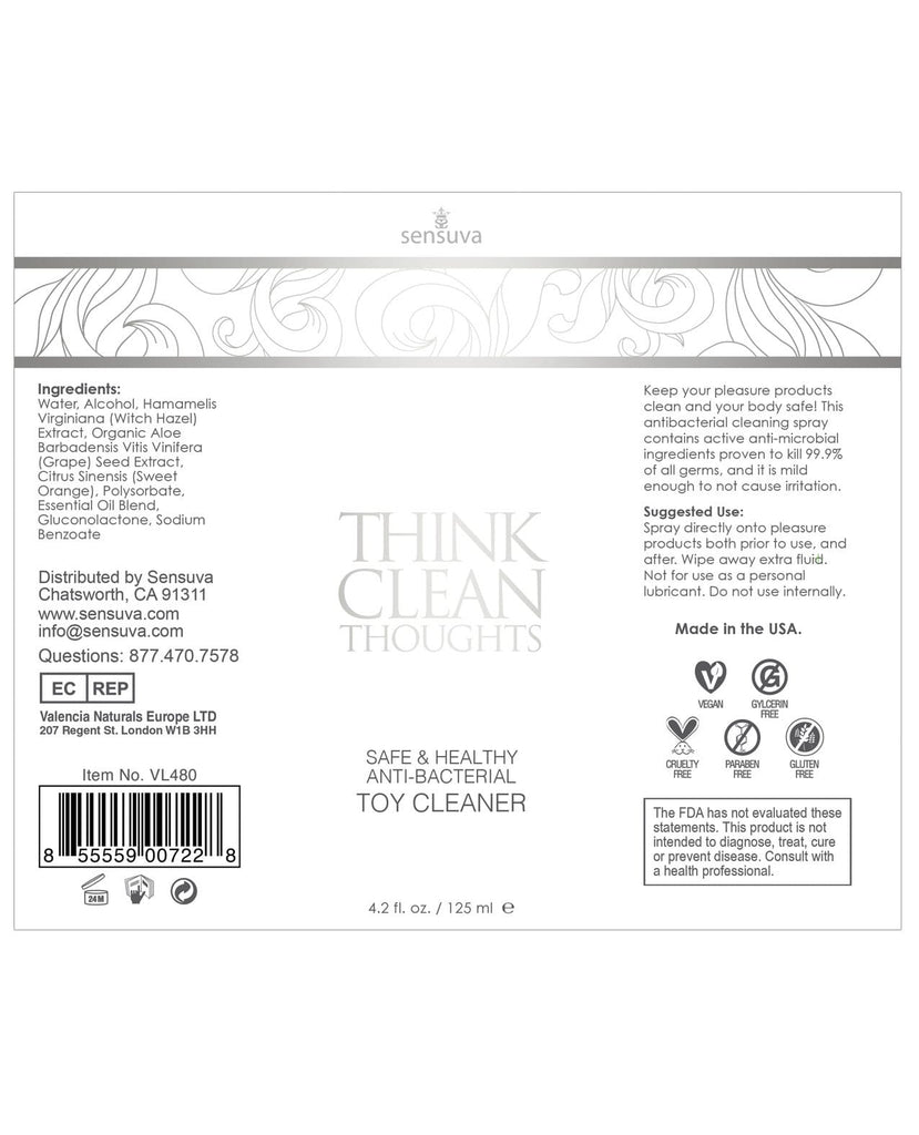 Sensuva Think Clean Thoughts Toy Cleaner-Toy Cleaners-Sensuva Valencia Naturals-Slightly Legal Toys